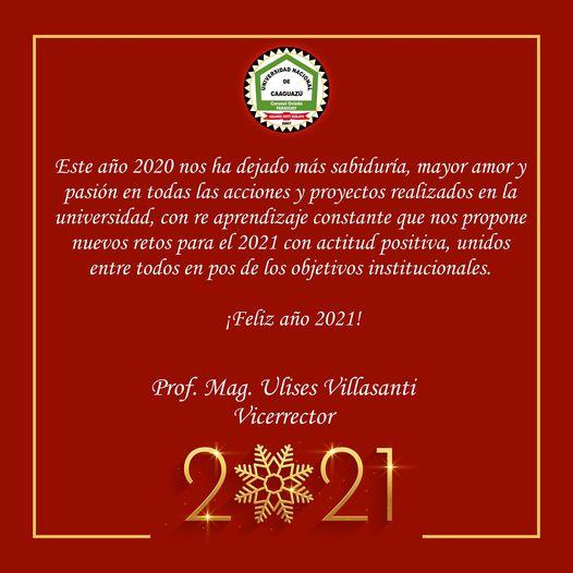 📌Mensaje del Vicerrector de la Universidad Nacional de Caaguazú – Prof. Mag. Ulises Villasanti